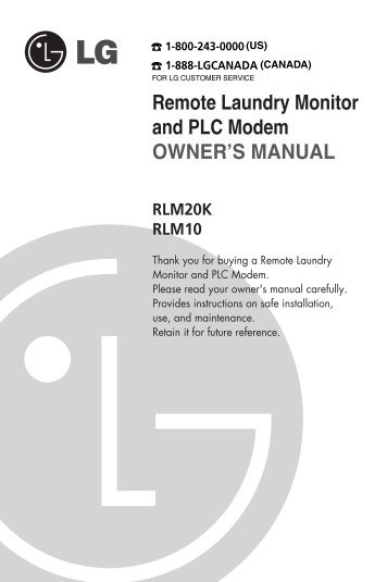 Remote Laundry Monitor and PLC Modem OWNER'S ... - RetailDeck