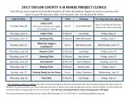 horse clinic schedule 2013 - Langlade County