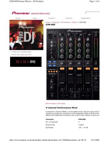 Page 1 of 3 DJM-800 Pioneer Mixers - DJ ... - Blacka Acoustics