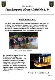 Schützenfest 2013 - Jägerkompanie Neuss-Uedesheim e. V.