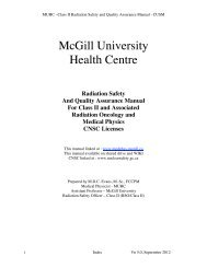 McGill University Health Centre - McGill Medical Physics Unit