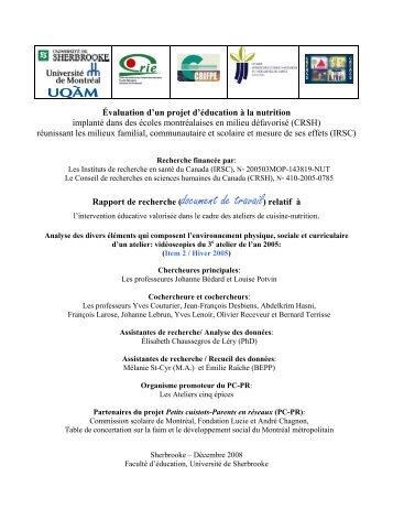 Item 2 - Centre de recherche sur l'intervention éducative (CRIE)