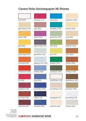 Eine Farbkarte mit allen bei uns erhältlichen Farben - Modulor