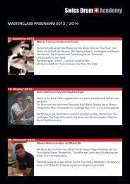 MASTERCLASS PROGRAMM 2013 / 2014 - JazzDrummerWorld