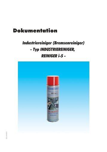 Dokumentation - Industriereiniger (Bremsenreiniger) - Typ ...