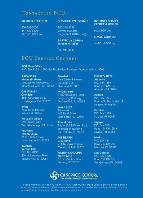 Bcu Customer Service >> Contacting Bcu Bcu Service Centers
