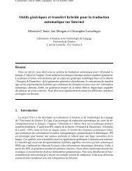 Outils génériques et transfert hybride pour la traduction automatique ...