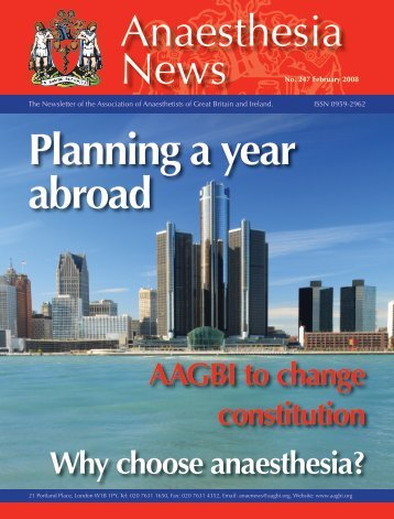 Anaesthesia Planning a year abroad - aagbi
