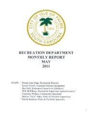 RECREATION DEPARTMENT MONTHLY REPORT ... - Isle of Palms