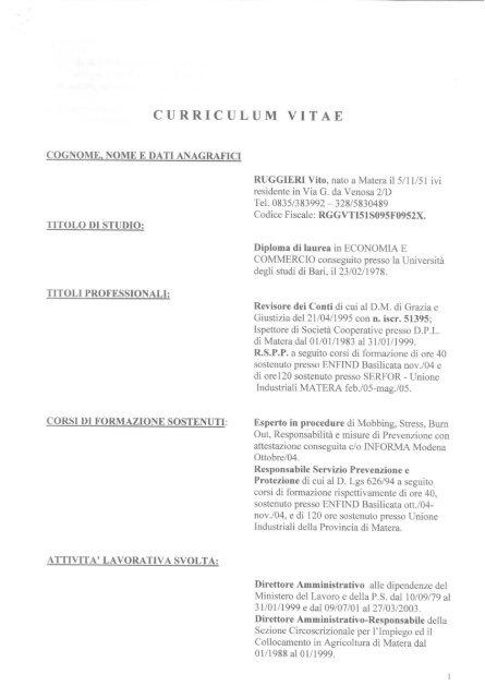 curriculum vitae - ATER MATERA
