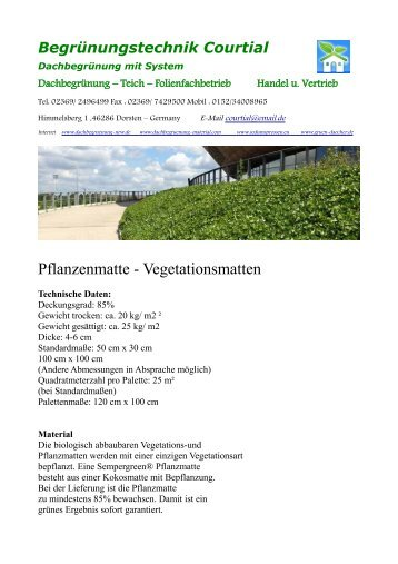 Pflanzenmatte - Vegetationsmatten