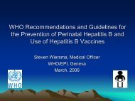 WHO Recommendations and Guidelines for the Prevention of ...