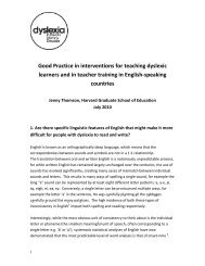 Good Practice in interventions for teaching dyslexic learners and in ...