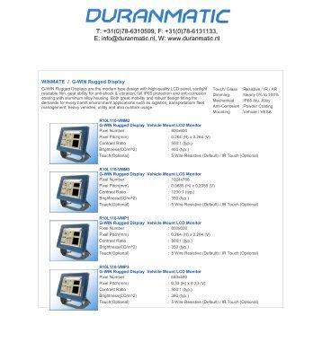 +31(0)78-6131133, E: info@duranmatic.nl, W: www.duranmatic.nl