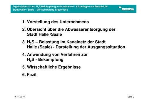 Ergebnisbericht H2S-Bekämpfung in Kanalnetzen / Klaranlagen am ...