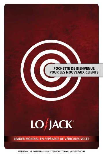 pochette de bienvenue pour les nouveaux clients - Lojack