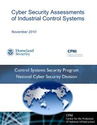 Cyber Security Assessments of Industrial Control Systems - ICS-CERT