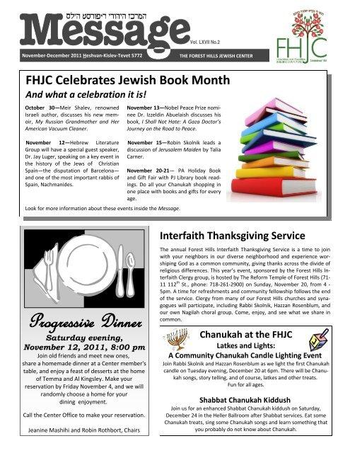 Nov Dec Message Forest Hills Jewish