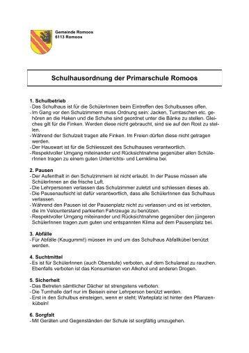 Schulhausordnung der Primarschule Romoos - Gemeinde Romoos