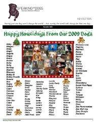 SPEAKING OF DOGS DECEMBER  2009 NEWSLETTER