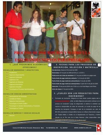 proceso de inscripción y matrícula estudiantes nuevos para pregrado