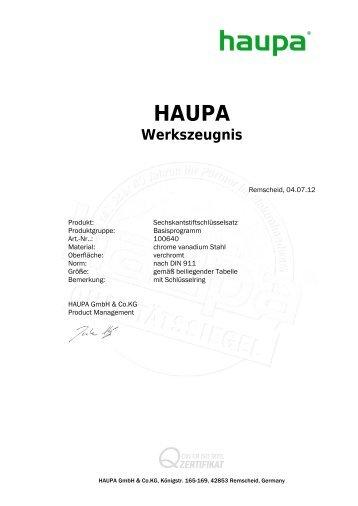 Sechskantstiftschlüsselsatz verchromt - Haupa