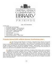 Newsletter April 2012.pdf - Dripping Springs Community Library