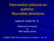 Intervention précoce en autisme - Centre d'excellence pour le ...