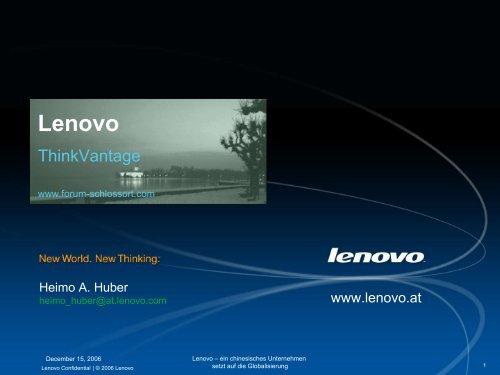 Lenovo Corporate Template - Forum Schloss Ort Gmunden