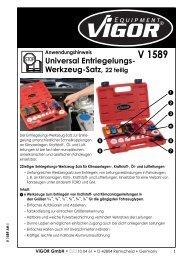 V1589 Universal Entriegelungs-Werkzeug-Satz - Vigor Equipment