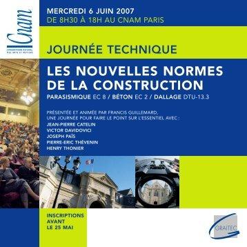 LES NOUVELLES NORMES DE LA CONSTRUCTION - Cnam