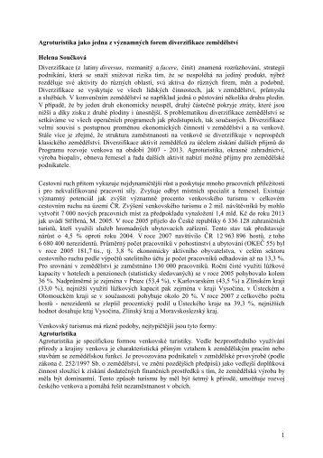 1 Agroturistika jako jedna z významných forem diverzifikace ...