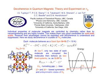 Decoherence in Quantum Magnets: Theory and Experiment ... - PiTP