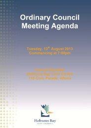 Ordinary Council Meeting Agenda - Hobsons Bay