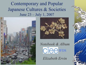 Contemporary and Popular Japanese Cultures & Societies