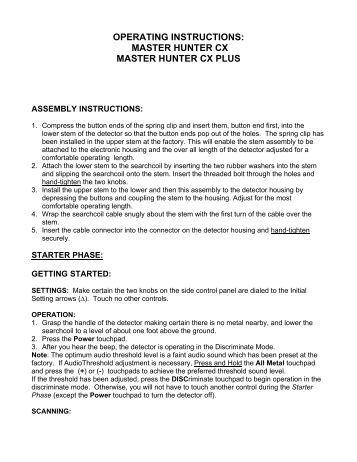 garrett master hunter cxiii manual