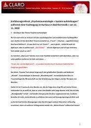 """Einführungsreferat """"Psychotraumatologie + System-aufstellungen ..."""
