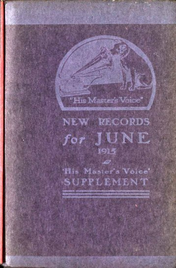 His Master's Voice New Records Catalogue June 1915