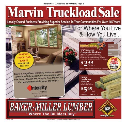 Marvin TruckloadSale - Baker-Miller Lumber