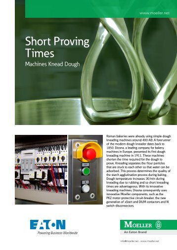 Short Proving Times, Machines knead dough - Moeller