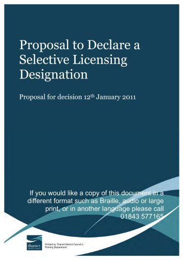 Proposal to Declare a Selective Licensing Designation