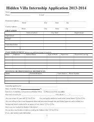 Hidden Villa Internship Application 2013-2014