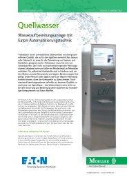 Quellwasser - Wasseraufbereitungsanlage mit Eaton - Moeller