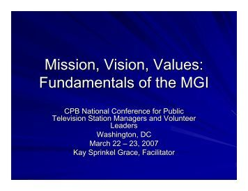 Mission, Vision, Values - Major Giving Initiative