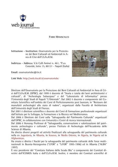 Fabio MANISCALCO - web journal - Università degli studi di Napoli ...