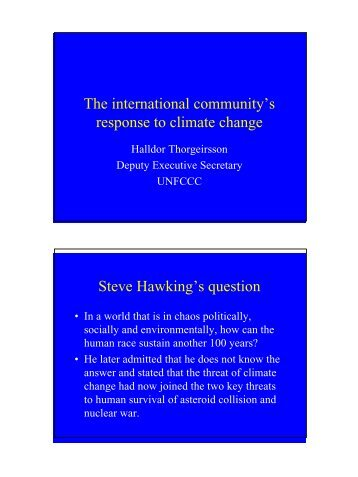 The international community's response to climate change