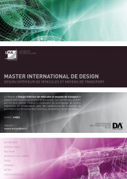 MASTER InTERnATIonAl DE DESIgn - Pôle Véhicule du Futur