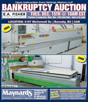 BANKRUPTCY AUCTION - Maynards Industries