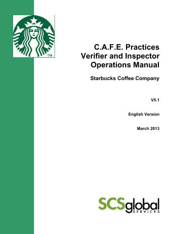 cafe practices verifier and inspector operations manual starbucks rh yumpu com Operations Manual Examples Operation Manual Cover