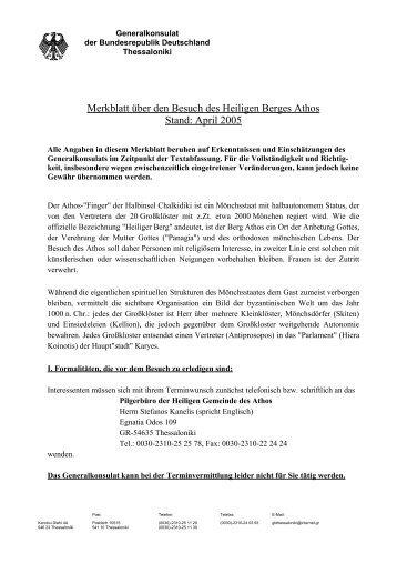 Merkblatt über den Besuch des Heiligen Berges Athos Stand: April ...